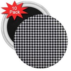 Friendly Houndstooth Pattern,black And White 3  Magnets (10 Pack)