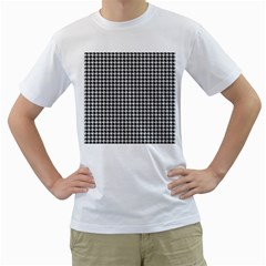 Friendly Houndstooth Pattern,black And White Men s T Shirt (white) (two Sided)