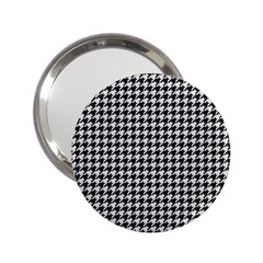 Friendly Houndstooth Pattern,black And White 2 25  Handbag Mirrors
