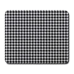 Friendly Houndstooth Pattern,black And White Large Mousepads