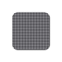 Friendly Houndstooth Pattern,black And White Rubber Square Coaster (4 Pack)