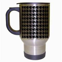 Friendly Houndstooth Pattern,black And White Travel Mug (silver Gray)