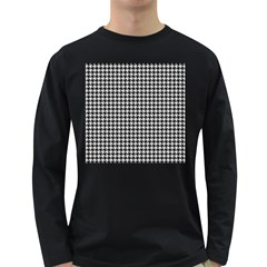 Friendly Houndstooth Pattern,black And White Long Sleeve Dark T Shirts