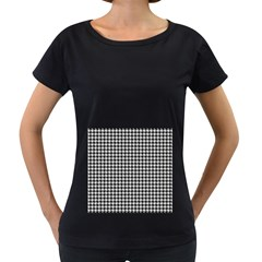 Friendly Houndstooth Pattern,black And White Women s Loose Fit T Shirt (black)