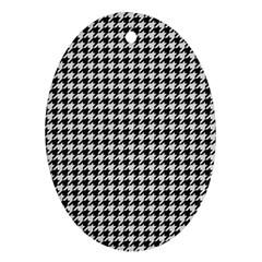 Friendly Houndstooth Pattern,black And White Oval Ornament (two Sides)