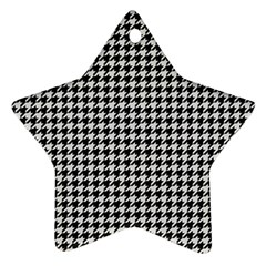 Friendly Houndstooth Pattern,black And White Star Ornament (two Sides)