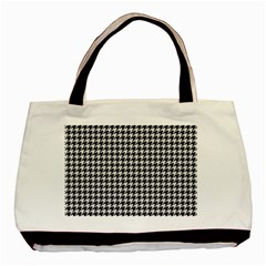 Friendly Houndstooth Pattern,black And White Basic Tote Bag (two Sides)