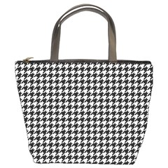 Friendly Houndstooth Pattern,black And White Bucket Bags