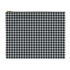 Friendly Houndstooth Pattern,black And White Cosmetic Bag (xl)