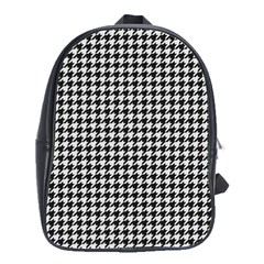Friendly Houndstooth Pattern,black And White School Bag (large)