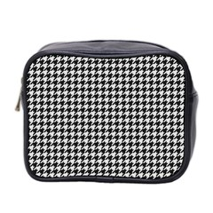 Friendly Houndstooth Pattern,black And White Mini Toiletries Bag 2 Side
