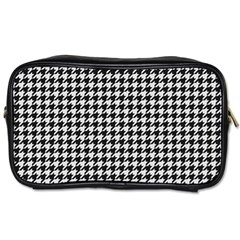 Friendly Houndstooth Pattern,black And White Toiletries Bags 2 Side