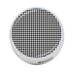Friendly Houndstooth Pattern,black And White 4 Port Usb Hub (two Sides)