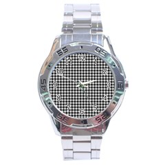 Friendly Houndstooth Pattern,black And White Stainless Steel Analogue Watch