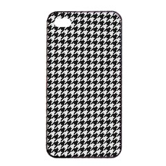 Friendly Houndstooth Pattern,black And White Apple Iphone 4/4s Seamless Case (black)