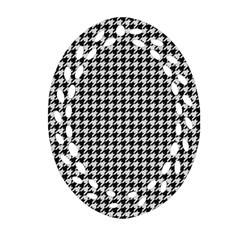 Friendly Houndstooth Pattern,black And White Ornament (oval Filigree)
