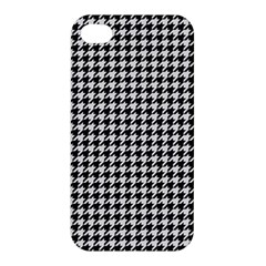 Friendly Houndstooth Pattern,black And White Apple Iphone 4/4s Premium Hardshell Case