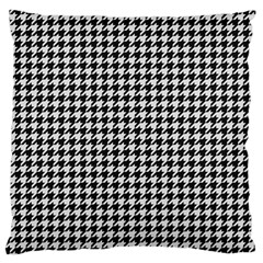 Friendly Houndstooth Pattern,black And White Large Cushion Case (two Sides)