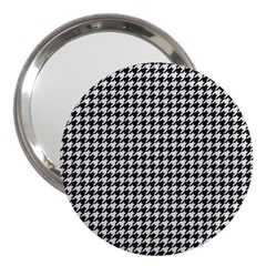 Friendly Houndstooth Pattern,black And White 3  Handbag Mirrors