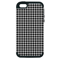 Friendly Houndstooth Pattern,black And White Apple Iphone 5 Hardshell Case (pc+silicone)