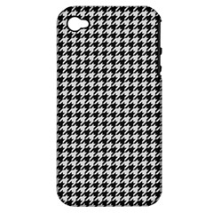 Friendly Houndstooth Pattern,black And White Apple Iphone 4/4s Hardshell Case (pc+silicone)