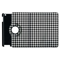 Friendly Houndstooth Pattern,black And White Apple Ipad 2 Flip 360 Case