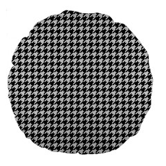 Friendly Houndstooth Pattern,black And White Large 18  Premium Round Cushions