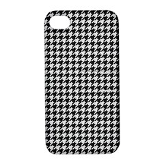 Friendly Houndstooth Pattern,black And White Apple Iphone 4/4s Hardshell Case With Stand
