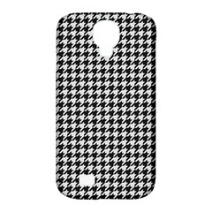 Friendly Houndstooth Pattern,black And White Samsung Galaxy S4 Classic Hardshell Case (pc+silicone)