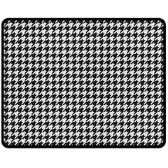 Friendly Houndstooth Pattern,black And White Double Sided Fleece Blanket (medium)