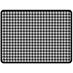 Friendly Houndstooth Pattern,black And White Double Sided Fleece Blanket (large)