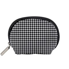 Friendly Houndstooth Pattern,black And White Accessory Pouches (small)