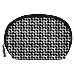 Friendly Houndstooth Pattern,black And White Accessory Pouches (large)