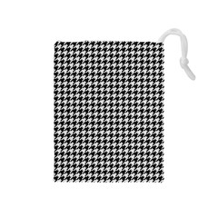 Friendly Houndstooth Pattern,black And White Drawstring Pouches (medium)