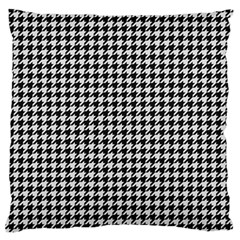 Friendly Houndstooth Pattern,black And White Large Flano Cushion Case (one Side)