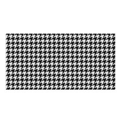 Friendly Houndstooth Pattern,black And White Satin Shawl