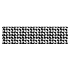 Friendly Houndstooth Pattern,black And White Satin Scarf (oblong)