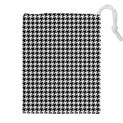 Friendly Houndstooth Pattern,black And White Drawstring Pouches (xxl)