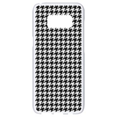 Friendly Houndstooth Pattern,black And White Samsung Galaxy S8 White Seamless Case