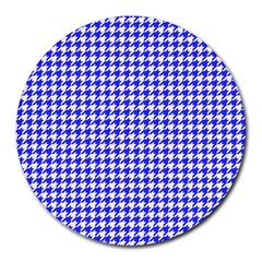 Friendly Houndstooth Pattern,blue Round Mousepads