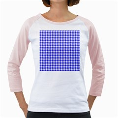 Friendly Houndstooth Pattern,blue Girly Raglans