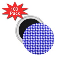 Friendly Houndstooth Pattern,blue 1 75  Magnets (100 Pack)