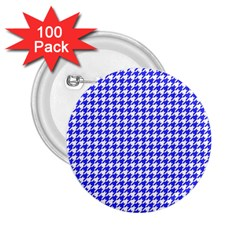 Friendly Houndstooth Pattern,blue 2 25  Buttons (100 Pack)