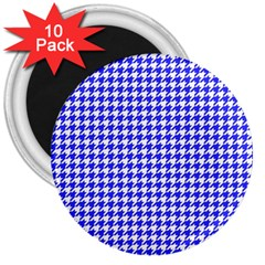 Friendly Houndstooth Pattern,blue 3  Magnets (10 Pack)