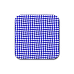 Friendly Houndstooth Pattern,blue Rubber Coaster (square)