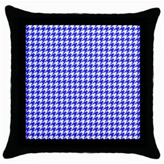 Friendly Houndstooth Pattern,blue Throw Pillow Case (black)
