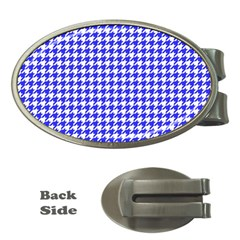Friendly Houndstooth Pattern,blue Money Clips (oval)