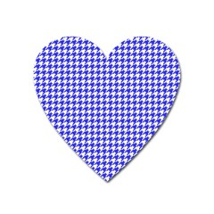 Friendly Houndstooth Pattern,blue Heart Magnet