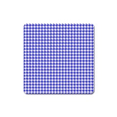 Friendly Houndstooth Pattern,blue Square Magnet