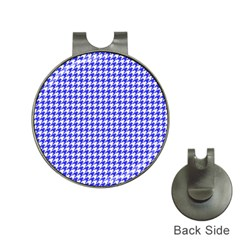 Friendly Houndstooth Pattern,blue Hat Clips With Golf Markers
